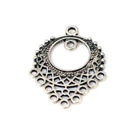2x Metalen Ornament/Tussenstuk Antiek Zilver c.a 34x25 mm