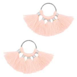 Kwastjes hanger Silver-salmon pink