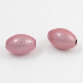 10 x Miracle kraal roze ovaal 10 x 14mm