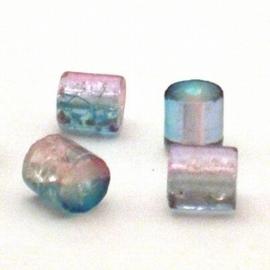 30 stuks crackle glas kralen cilinder vorm 7 x 8mm licht roze blauw
