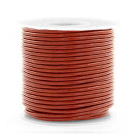 50cm DQ Leer rond 1 mm Red ochre brown