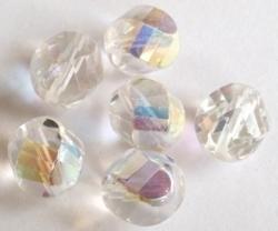 Per stuk Glaskraal facet kristal AB twisted geslepen 15 mm