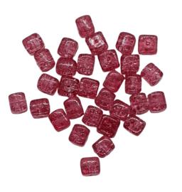 10 Stuks glaskraal crackle kubus transparant fuchsia 8 x 9 mm