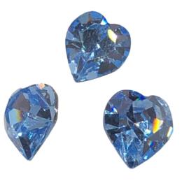 2x Precosia kristal in de vorm van een hart Blauw 10 mm