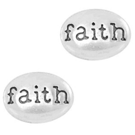 2 x Floating Charms Faith Antiek Zilver