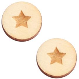 2 x Houten cabochon basic 12 mm star small White wood ( natuurlijke kleur van het hout)