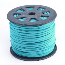 2 meter Faux suède veter  breed  3mm kleur: turquoise