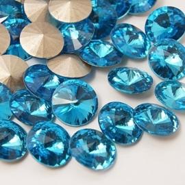 5 x Puntsteen half rond Preciosa voor Puntsteen SS39 Setting c.a. 8 x 4mm Hemels Blauw