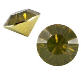 5 x Puntsteen half rond BQ puntsteen SS39 Khaki green opal c.a. 8mm