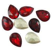 2x Kristallen facet cabochon in de vorm van een druppel 13 x 18mm rood