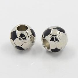 Tibetaans zilveren European Jewelry bedel voetbal 11 x 4,5mm gat: 4,5mm emaille