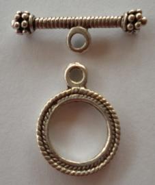 4 x tibetaans zilveren sluiting oogje 17mm en stang 27mm