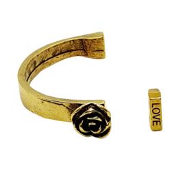 Halve armband met roos metaal goud