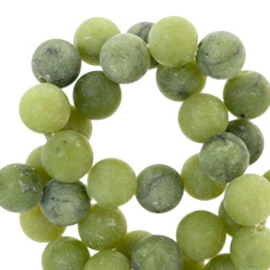 10 x Half edelsteen kralen rond 8mm mat Olive green
