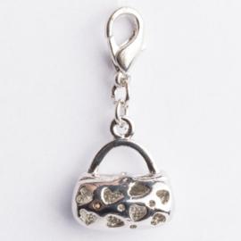Be Charmed bedel tasje met karabijnsluiting zilver met een rhodium laag (nikkelvrij)