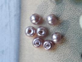 10x mooie grijs/paarse glasparels 3 x 3 mm gat: 1 mm
