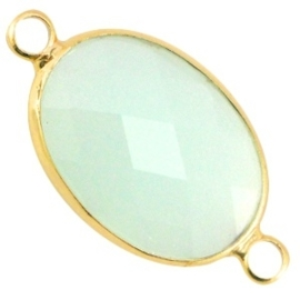 Crystal glas tussenstuk ovaal 13 x 18mm Crysolite green - gold
