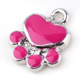 2 x Bedel Hondenpoot roze met zilverkleur metaal en emaille 15,5 x 13 x 3mm gat: 2mm