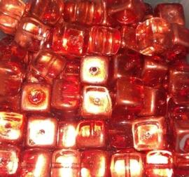 10 Stuks Glaskralen kubus oranje/bruin met olieglans 7 x 9 mm