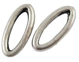 10 x mooie tibetaans zilveren gesloten ovaal 16 x 7 x 2mm Gat: 10,5mm
