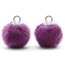 2 x Pompom bedels met oog faux fur 12mm Purple-silver