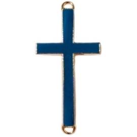 2 x Bedel goud 2 ogen kruis  medium Donker blauw  ca. 46 x 23 mm groot