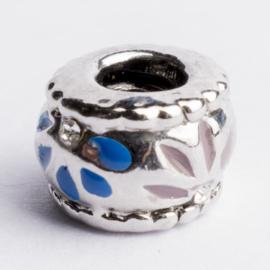 Be Charmed kraal zilver met een rhodium laag (nikkelvrij) c.a. 11 x 7mm groot gat: 4.3mm