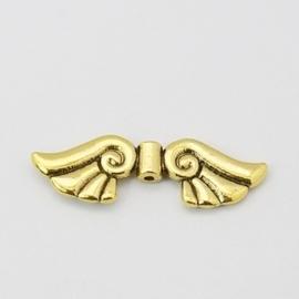 2 x zeer grote Tibetaans zilveren engelen vleugel goudkleur 45 x 14 x 4,5mm Gat: 2mm