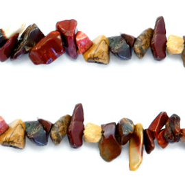 20 x Chips stone kralen Multicolour red-brown c.a 7 mm