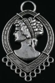 2 stuks tibetaans zilveren oorbellen ornamenten 39x23mm