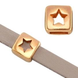 1x DQ metaal schuiver vierkant ster Rosé goud Ø5.2x2.2mm
