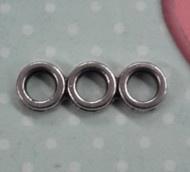 4 x Tibetaanse zilver tussenzetels 3 gaten 18x6mm gat 3mm