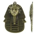 Tibetaans zilveren Egyptische Toetanckamon masker 34 x 49 x 4mm Gat: c.a. 1,5mm geel koper kleur