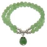 Prachtige armband met groene Aventurijn 6mm, 10mm, 4mm en Tibetaans zilver en elastiek
