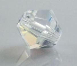 10 x Preciosa Kristal Bicone clear c.a. 5,5 ~ 6mm  gat: 1mm
