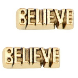 2 x Floating Charms Believe Goud 11x4 mm