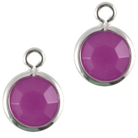 2x DQ facethanger gekleurd  Zilver-violet purple (op is op!)