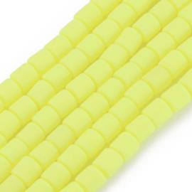 40 x handgemaakte polymeer klei kralen yellow  6,5 x 6mm gat: 1,2mm