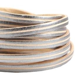 20 cm DQ leer plat 5mm Antiek zilver - beige