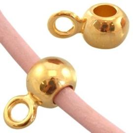 2 x Metalen DQ hanger met oog (voor 2mm leer) Goud 9.5x4.5 mm