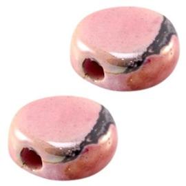 1 x DQ Griekse keramiek kralen 13mm rond plat Fuchsia pink ca. 13 mm Ø 2.5 mm