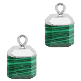 1 x Natuursteen hangers square Green-silver Peacock stone