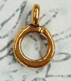Per stuk tibetaans zilveren bails hanger 17 x 11 x 3mmm, Ø10mm, oogje: 4mm Antiek Goudkleur