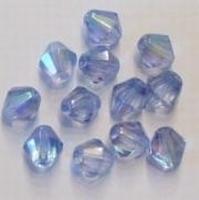 10x Glaskraal facet konisch blauw 12 mm