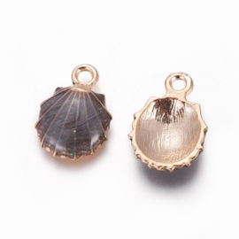 2 x Metalen bedels shell light gold black ca. 19 x13 x 4mm oogje 1,4mm
