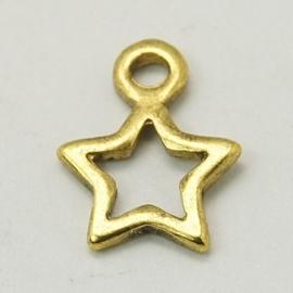 5 stuks tibetaans zilveren bedeltjes van een ster sterretje 14 x 10 x2 mm oogje 1,5mm goudkleur
