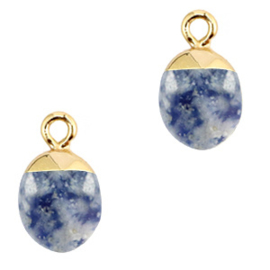 1 x Natuursteen hangers Blue white-gold Blue Stone