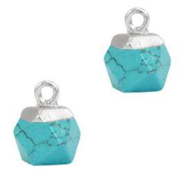1 x Natuursteen hangers hexagon Marble turquoise-silver