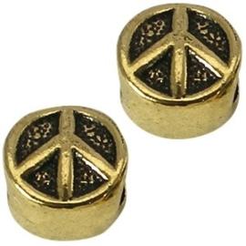 2 x Metalen Kraal Peace 10 mm Medium Antiek Goud Ø 4-5 mm
