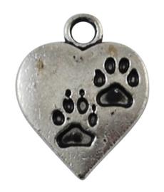 4 x Tibetaans zilveren hartje met hondenpootjes 17 x 13 x2mm gat: 3mm